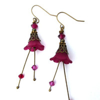 Fuchsia pink, red  Frosted Flower Earrings, Swarovski Crystal, Antique Brass, Dangle jewelry.