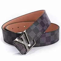 Inseva LV Louis Vuitton  new classic printing men and women models wild simple smooth buckle belt Black Check Belt