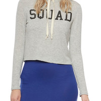 Cropped Graphic Hoodie with Squad Print