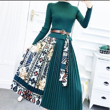 New women's retro printing mid-length stitching fake knitted two-piece skirt