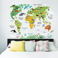 Colorful World Map Wall sticker Vinyl