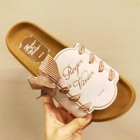 """""""Roger Vivier"""" Summer Trending Women Beach Home Leather Bowknot Slipper Sandals Shoes(3-Color) White I-AGG-CZDL"""