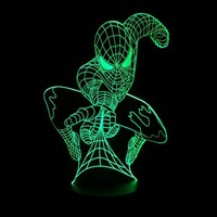 Marvel Superhero Spiderman 3D Table Lamp Optical Illusion Bulbing Night Light  7 Colors Changing Mood Lamp Dropshipping