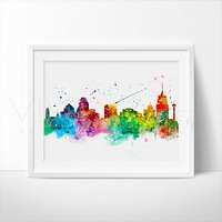 San Antonio Skyline Watercolor Art Print