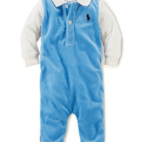 Ralph Lauren Childrenswear Baby Boys Velour Colorblock Coveralls