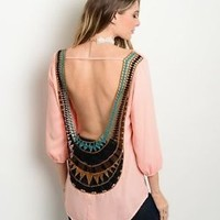 Peach Open Back High Low Cut Top with Multi Color Lace Design Blouse