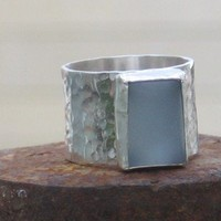 Sterling silver ring with Blue Zircon stone by anakim on Etsy