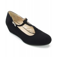 City Classified Compare-H NuBuck Round Toe T-Strap Mary Jane Kitten Wedge BLACK