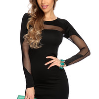 Black Long Sleeve Mesh Cut Out Sexy Party Dress