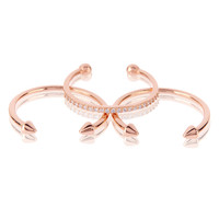 Barbell Ring Set- Rose Gold