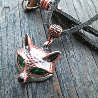 Copper Fox Necklace, Fox Jewelry, Fox Pendant, Woodland Animal Jewelry, Gift for Men, Gift for Women, Mens Necklace, Unisex Necklace