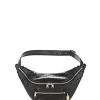 PADLOCK FANNYPACK IN CROC EMBOSSED BLACK | SMALL LEATHER GOOD | Alexander Wang Official Site
