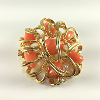 Faux Coral Brooch Joan Rivers Designer Jewelry Gold Tone 3D Flower Design Beach Resort Summer Statement Jewelry Gardener Gift