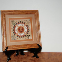 Vintage Authentic Navajo Sand Painting Pollen Boy In The Sun