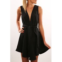 Fashion Halter Sleeveless Deep V Backless Hollow Strappy Bodycon Romper Jumpsuit Shorts