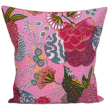 24x 24 Pink kantha Pillow Cover, kantha Throw Pillow, Decorative kantha Pillow, Indian Pillow, Pillowcase, Indian Cushion Cover Large Pillow