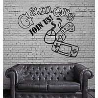Wall Stickers Gamers Video Game Joystick Kids Games Room Vinyl Decal Unique Gift (ig2463)