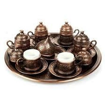 Copper Ottoman Turkish Arabic Tea/Coffee Set - 6 pcs Cups Sauces with Tray, Sugar Bowl Made in Turkey Gift Box