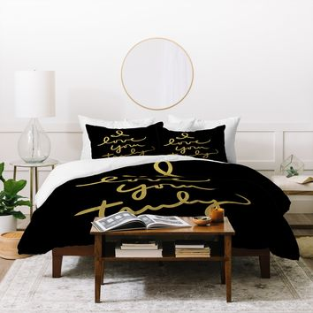 Lisa Argyropoulos I Love You Truly in Black Duvet Cover