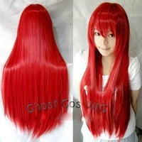 Hunnt® Long Cosplay Party Red Straight Wig 100cm