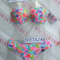 New Very Sexy Victoria's Secret Neon Floral Bandeau Bikini Set 34D M