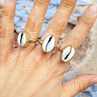 BRASS ➳ COWRIE SHELL RING