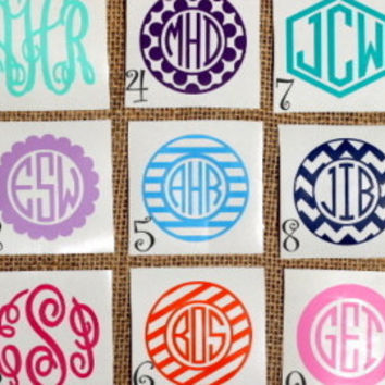 Monogram Sticker Monogram Decal  Car Monogram Phone Monogram iPad Monogram Yeti Decal iPhone Monogram Vinyl (MANY SIZES) (Pack of 4 Avail.)
