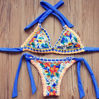 Handmade Crochet Floral Bikinis Bathing Suits