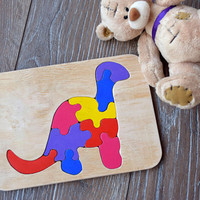 Baby wooden toy puzzle Dino Montessori Wood Educational Waldorf toys Dinosaur personalized puzzles Baby shower gift animal Organic game toys