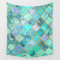 Cool Jade & Icy Mint Decorative Moroccan Tile Pattern Wall Tapestry by Micklyn