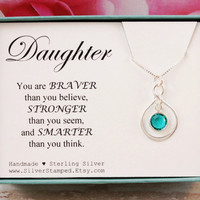 Daughter Gift Birthstone gift for Daughter jewelry sterling silver infinity necklace Swarovski birthstone Christmas birthday gift under 40