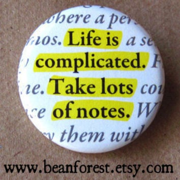 life is complicated take lots of notes by beanforest on Etsy