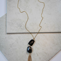 Black Stone Necklace in Gold