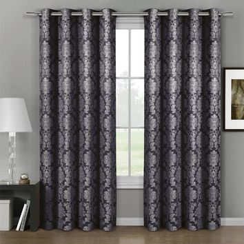 Charcoal Aryanna Jacquard Grommet Top Curtain Panel Pair (Two Panels )