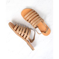 Final Sale - Bc Footwear - Teacup Leather Ankle Strap Sandals in Tan