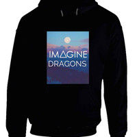 Imagine Dragons Title With Sunset Background Hoodie