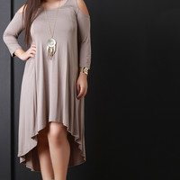 Open Shoulder High-Low Dress With Necklace
