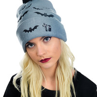 Dark Night Graveyard Bat Attack Embroidered Gray Knit Pom Pom Beanie Hat