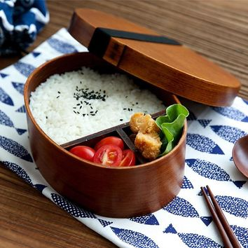 Wood Lunch Box Japanese Bento Boxes Kids Oval Shape Sushi Fruit Dessert Box Food Container Bowl Portable School Picnic Tableware