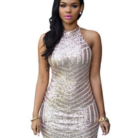 Silver Sequined Bodycon Mini Dress