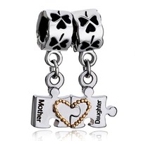 Pugster 2 Piece Dangle Separable Puzzle Mother Daughter Heart Charm Beads Fit Pandora Charms Bracelet