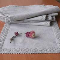"Long table runner with lace trimming Grey organic linen dinner table linens 106"" x 12""  270 cm x 30 cm"
