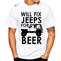 Will Fix Jeeps For Beer T-Shirt - Men's Drinking Tee