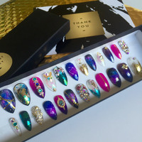 Handpainted | Galaxy Nails | Glass Nails Stiletto Press On Nails | Real Swarovski Crystals | False Nails | Fake Nails | Nail Art Mix
