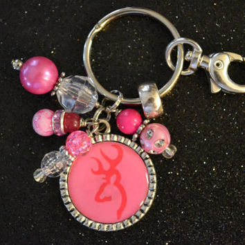 Pink Browning Deer Silver Bezel Keychain, Birthday Gift, Bridesmaids, Purse Tag, Luggage Tag , Party Favor