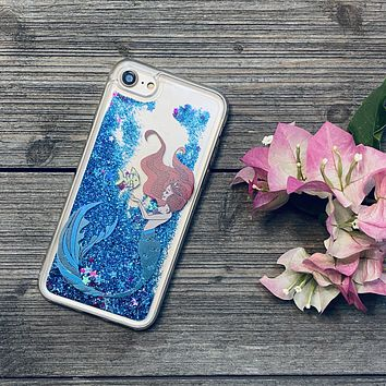 Mermaid Princess Blue Glitter iPhone Case