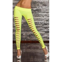 White Two Sides Ripped Opaque Spandex Stirrup  Leggings