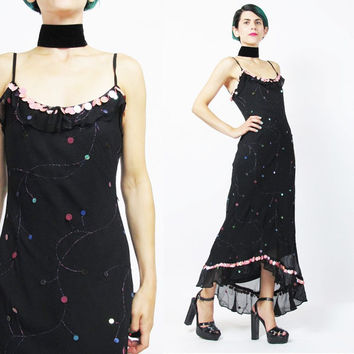 Vintage Betsey Johnson Dress Black Silk Sequin Evening Dress Bias Cut Gown Glam Sparkly Beaded Colorful Sequin Discs Maxi Dress XS/S)