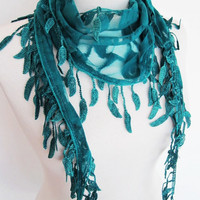 SPRING LEAVES Green Lace Scarf With Fringed Leaves, Woman, Mothers Day Gift