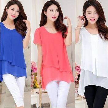 Korean Fashion Women Summer Tops Chiffon Patchwork Blouse Plus Size Women Clothing [9305618567]